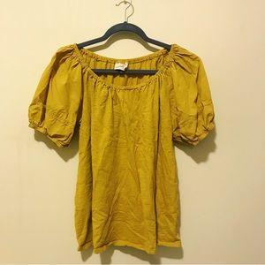 Mustard Gold Puff Sleeve Shirt